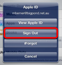 Sign out of  your current iTunes account