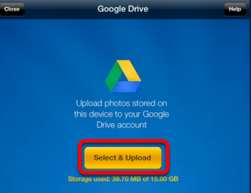 Upload photos from your iPad to Google Drive