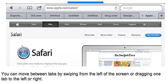 Swiping between tabs