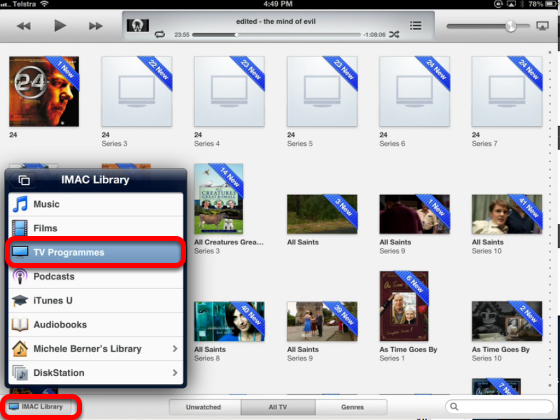 Accessing the iTunes Library using the app: Remote