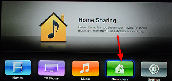 Setup Home Sharing on the Apple TV