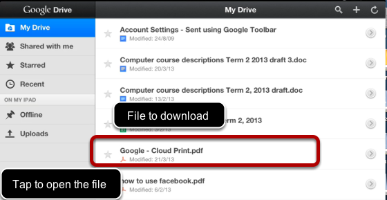 Download a file from a cloud service like Google Drive