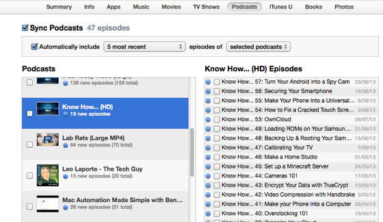 The Podcasts tab