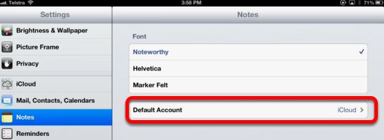 Make iCloud the default Notes Destination