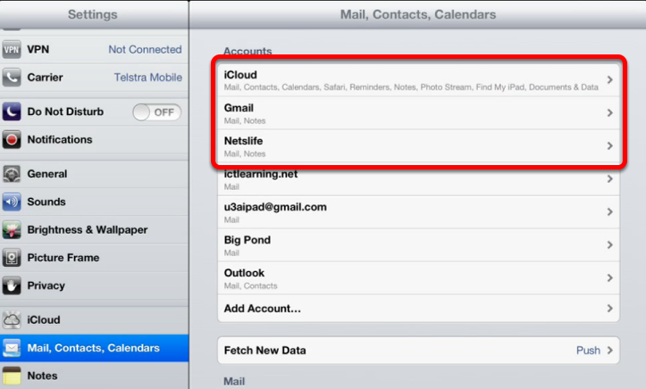 Mail Accounts with Notes configured