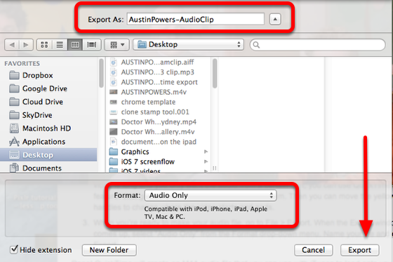 Export the audio