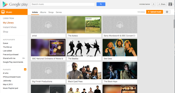 Listening to music online via Google Play