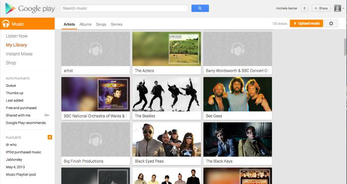 Listening to music online via Google Play