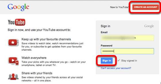 Create or Sign in to your Youtube account