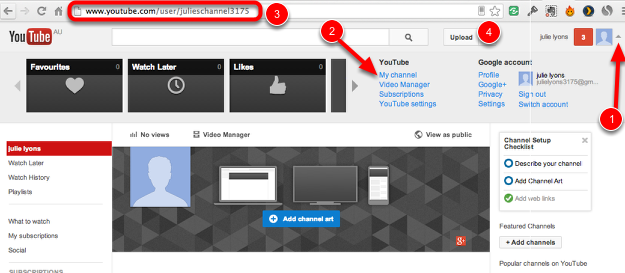 All Users: Open your Youtube channel page