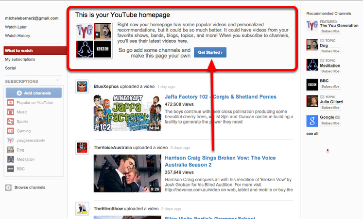 Amending your default Youtube homepage