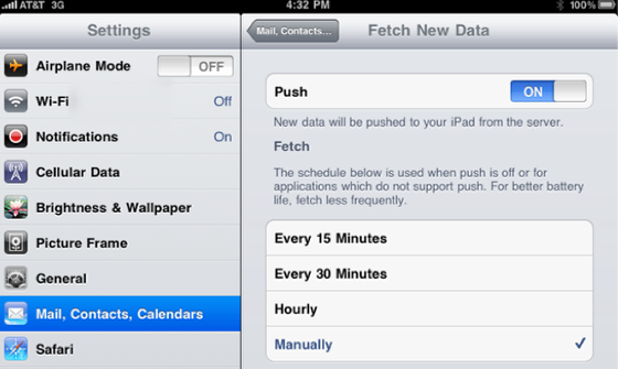 Reduce or eliminate Mail and Calendar checking - Data Push
