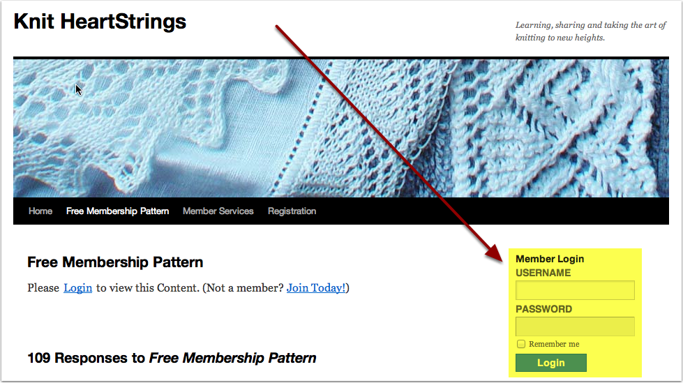You can Login from any page of the Knit HeartStrings site.