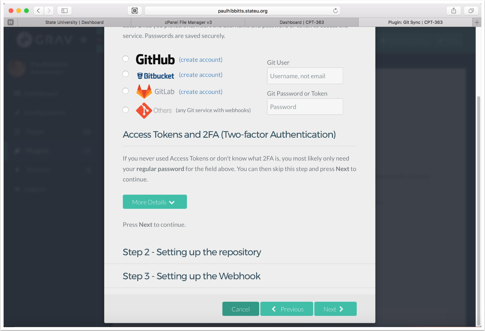 3.3 Choose the Git service and enter your username and password for it