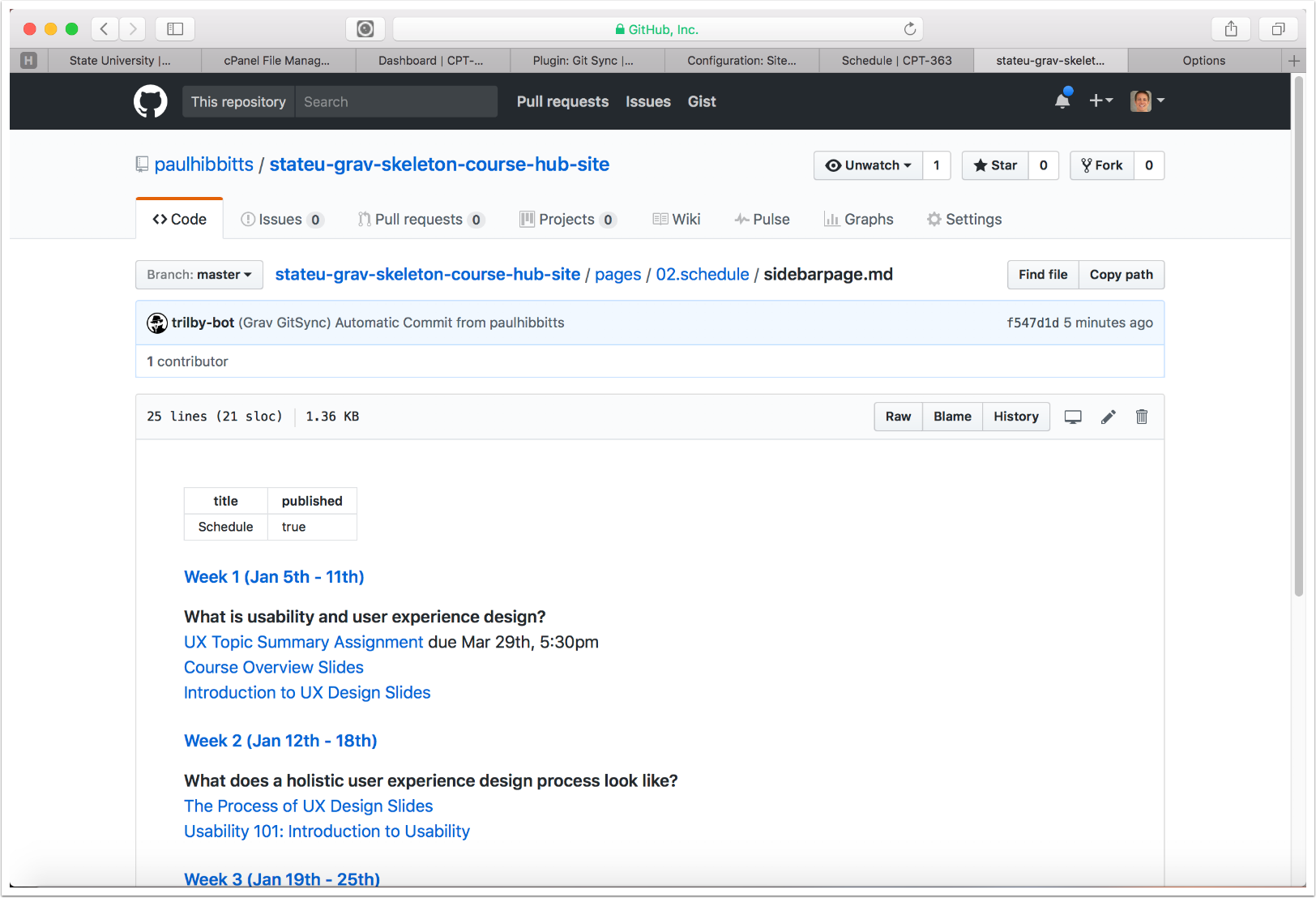 4.10 The Course Hub site schedule page is displayed in GitHub