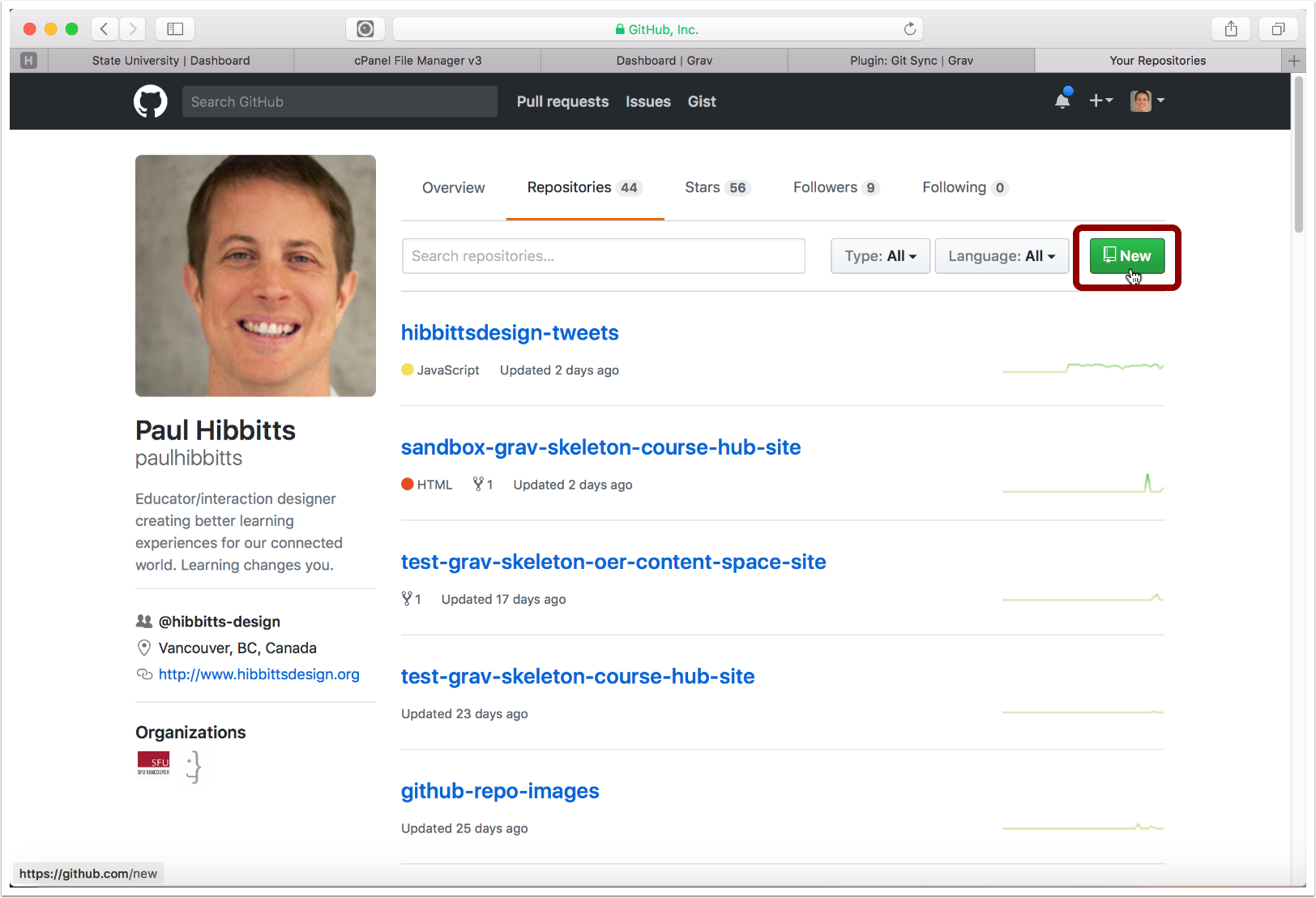 3.7 Create a new repository in your choosen Git service (GitHub example shown)