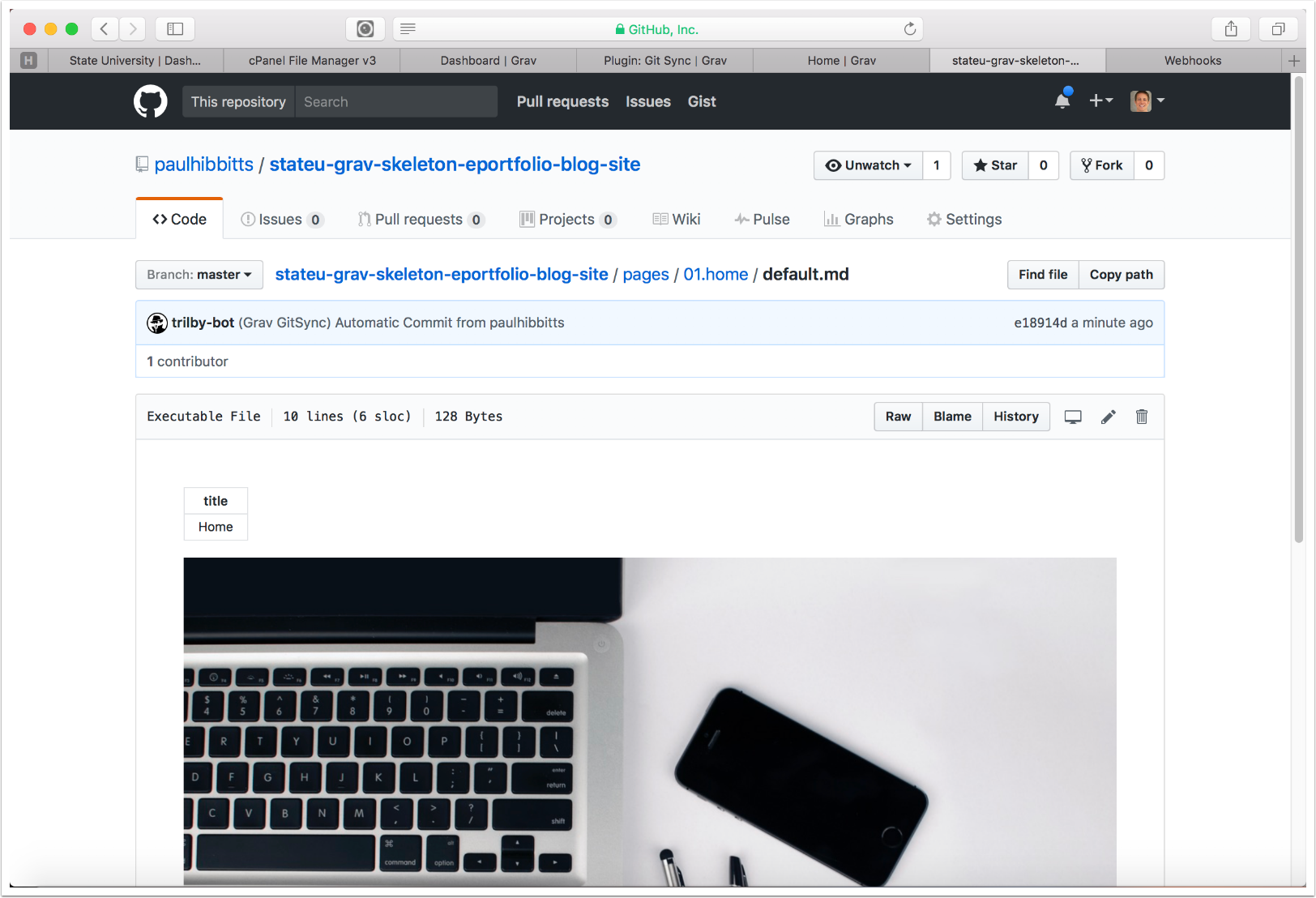 3.28 The content of the ePortfolio Blog homepage is now displayed in GitHub