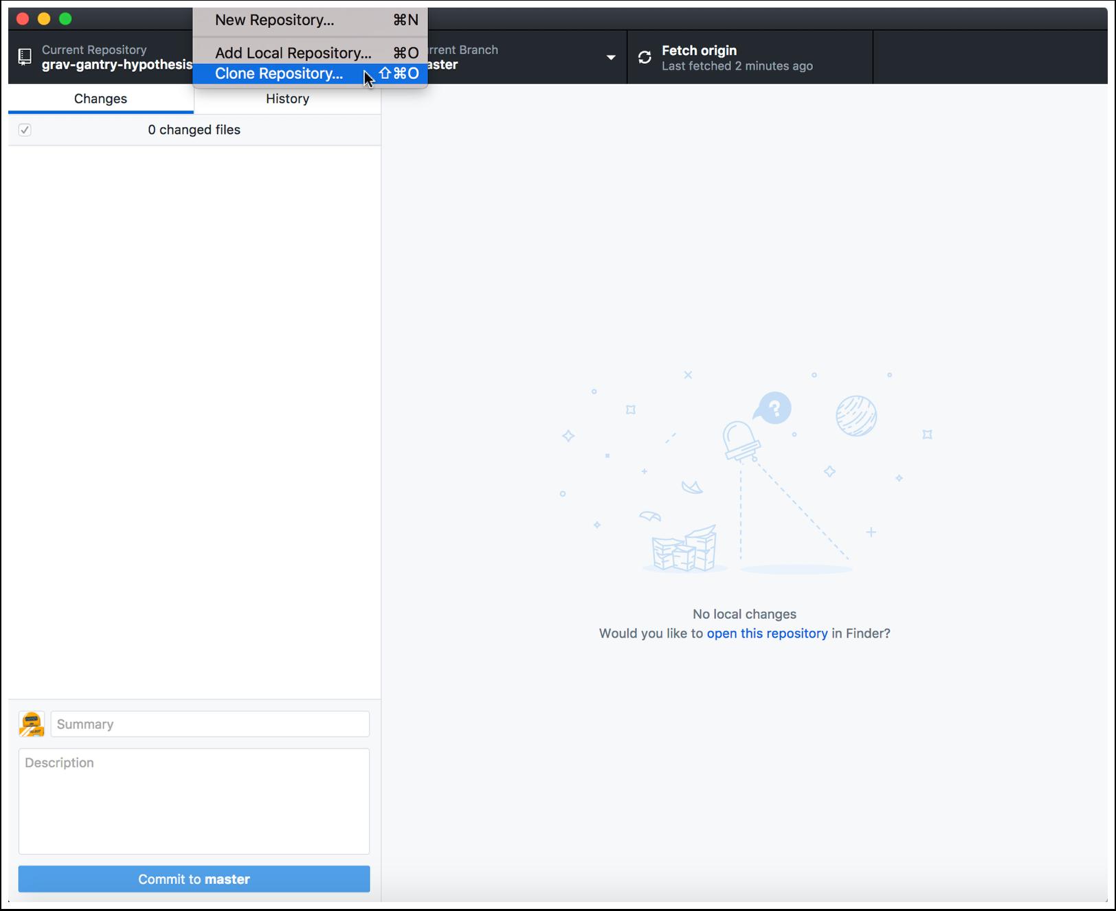 "2.1 Launch GitHub Desktop and tap the ""File"" menubar item and choose ""Clone Repository..."""