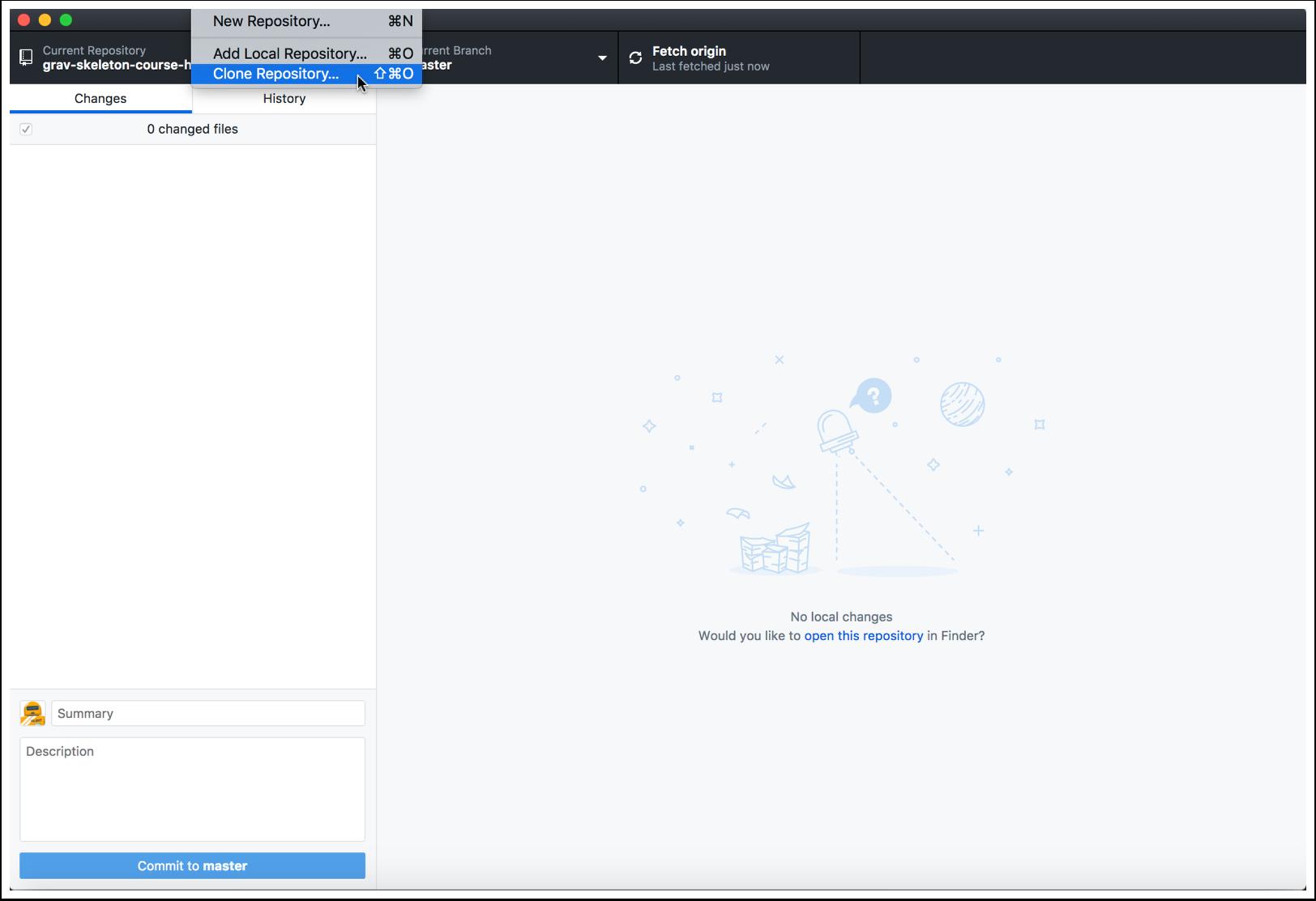 """2.2 Tap the """"File"""" menubar item and choose """"Clone Repository..."""""""