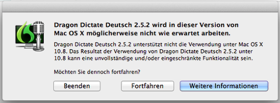 Start von Dragon Dictate