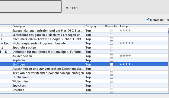 3) Shortcuts bewerten ...