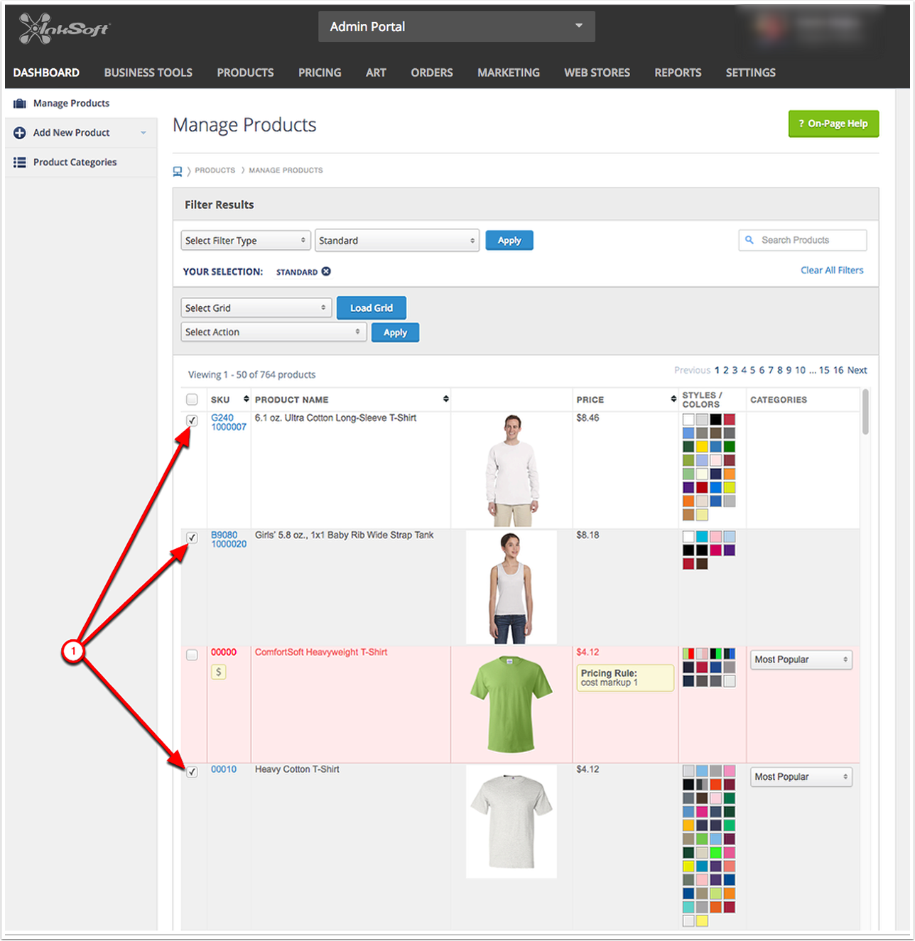 Assigning a Print Pricing Grid in Bulk - Selecting Your Products