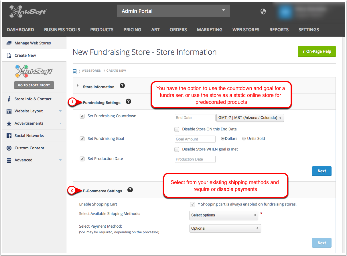 3. Fundraising and E-Commerce Settings