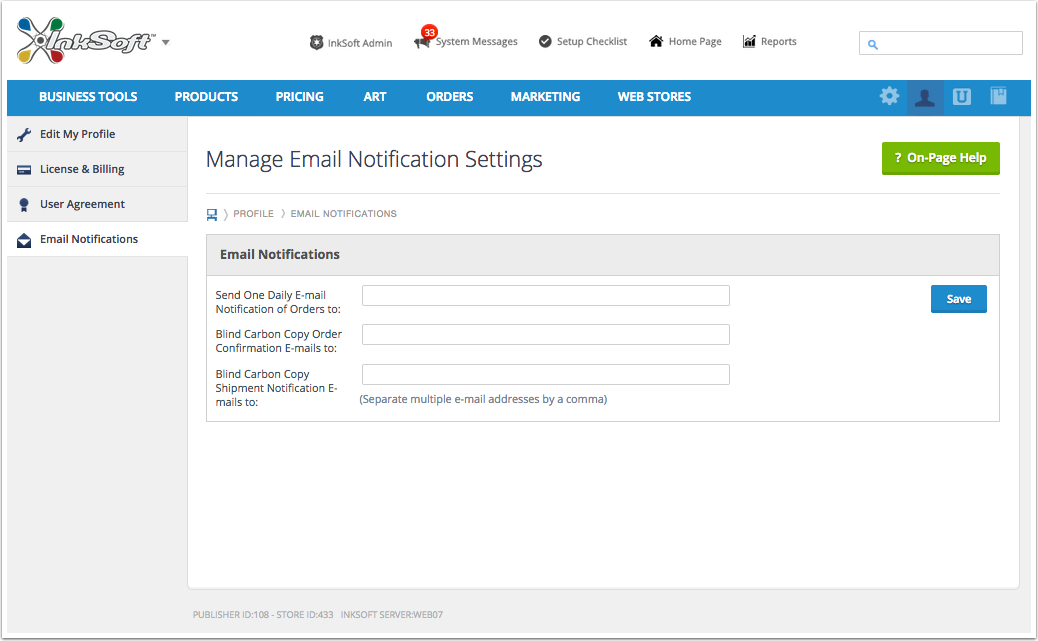Manage Email Notification Settings
