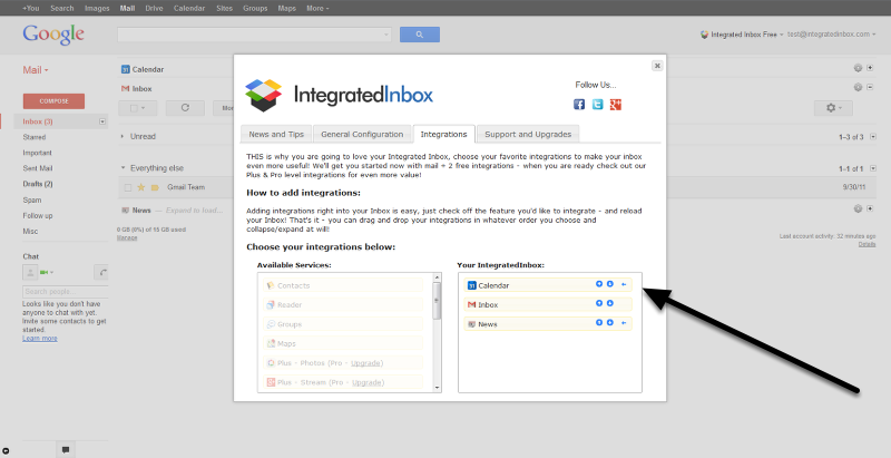 Drag and Drop Integrations in any order -- even above the Inbox!