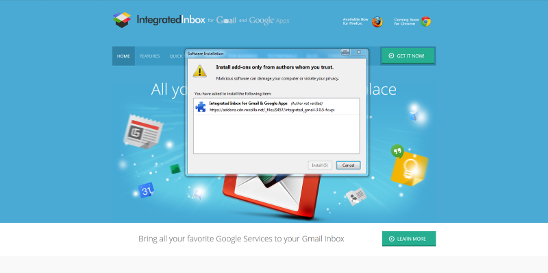 Install Integrated Inbox > Then go back to Gmail & Reload/Refresh