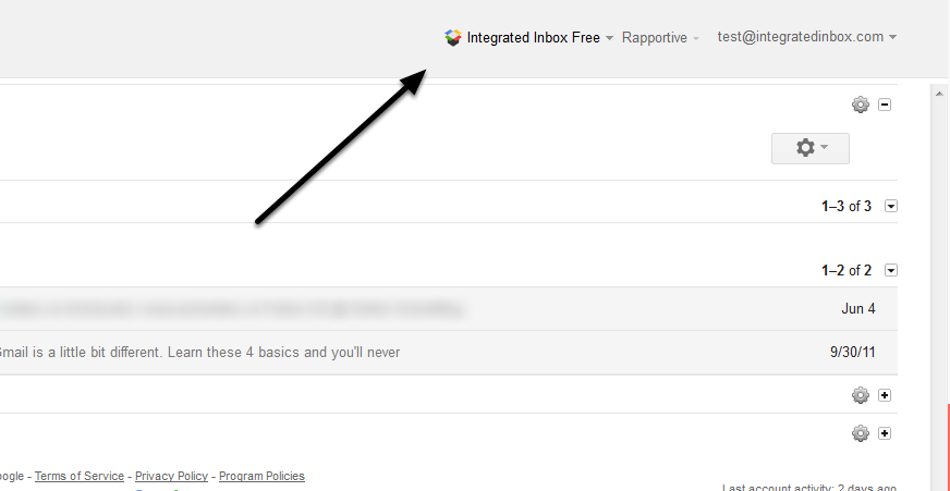 Look for your Integrated Inbox menu -- At 2 o'clock --- top right!