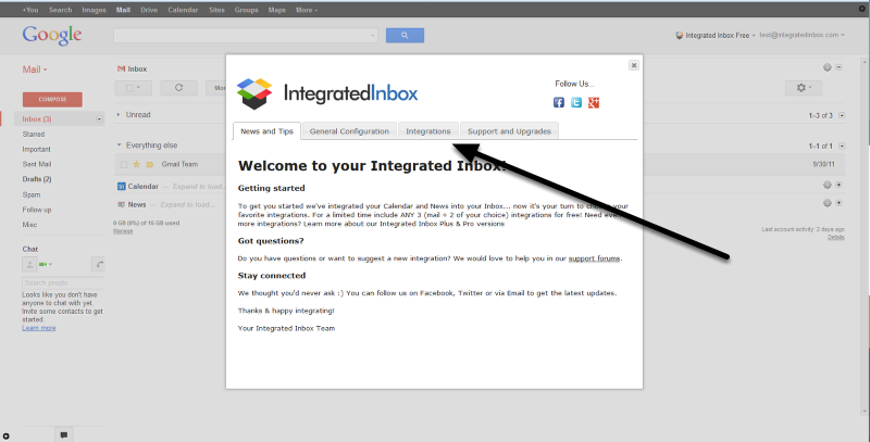 You choose the integrations -- just click your Integrations tab