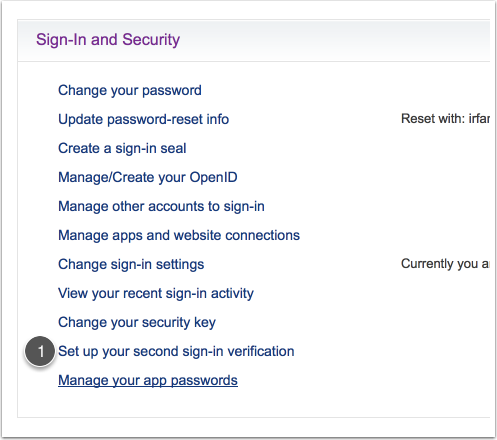 "Enter the ""Set up your second sign-in verification"" click on (1)"