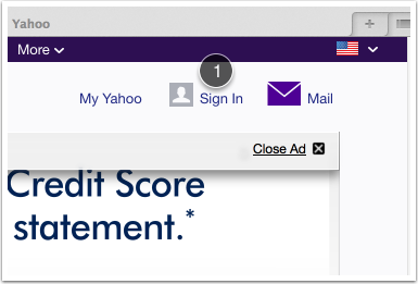 Go to your yahoo.com webpage on your browser (Safari or Chrome) and go to the login menu (1)
