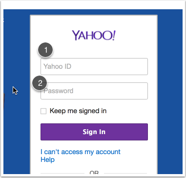 Sign in using your (1) username and (2) password