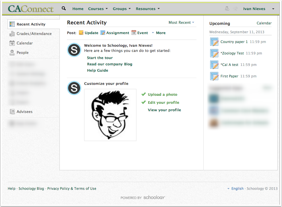 Schoology Default Landing Page (Schoology | Home).