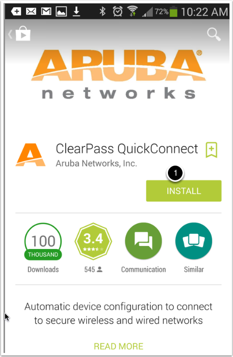On an Android device, the ClearPass QuickConnect app page should open.