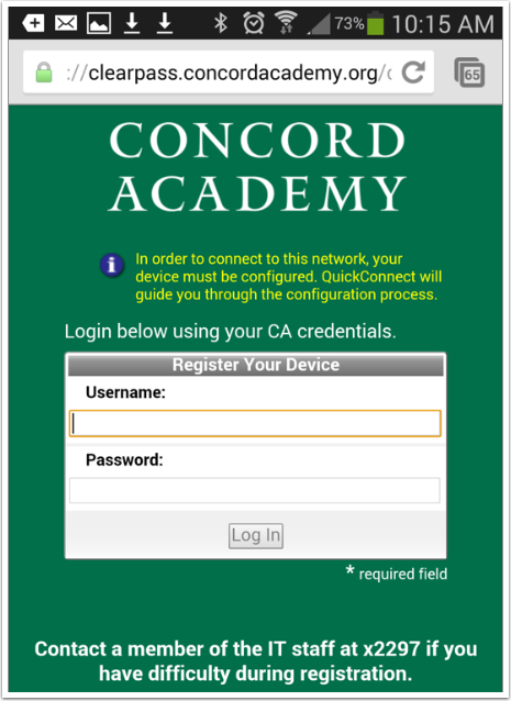 You will need to enter your username and password once more, on the Mobile Capture Portal.