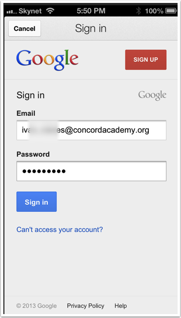 Sign in with your CA Connect email address and password