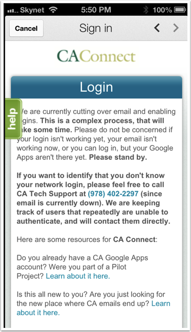 You should be taken to the CA Connect login page.