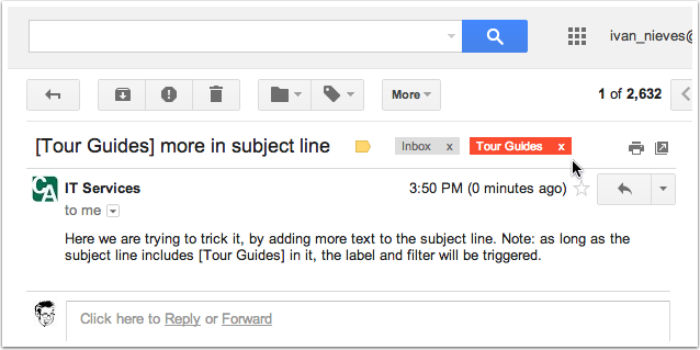 All future messages that have [Tour Guides] in the subject line will get that label