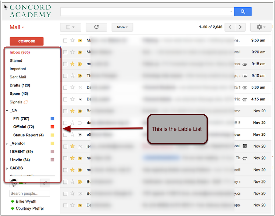 Find the Lable List in Google Mail.
