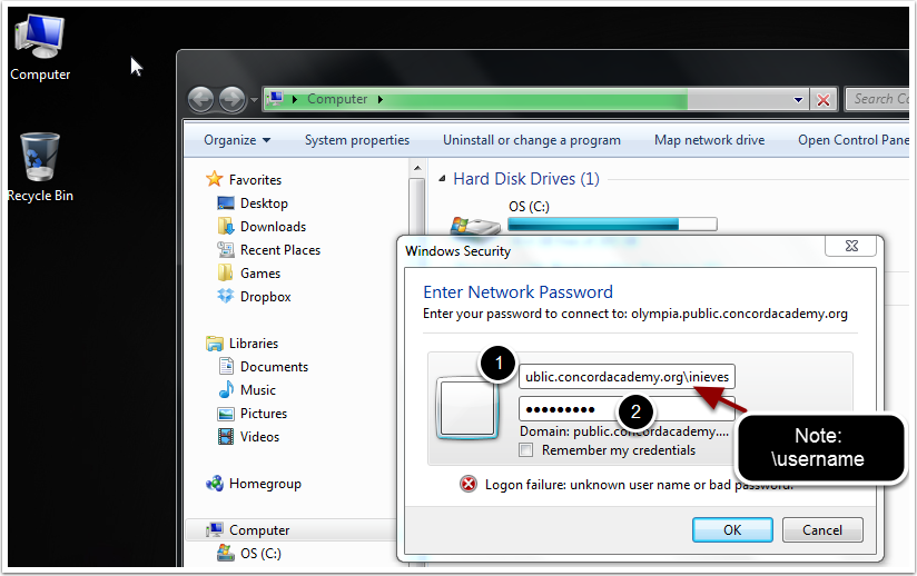 The Windows Security Network Password prompt will appear.