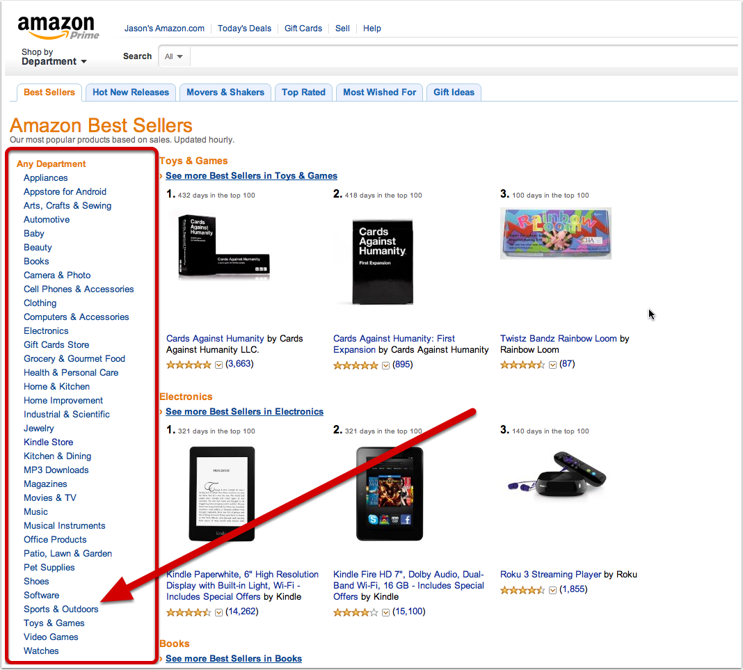 Step 8: Amazon Best Seller Lists