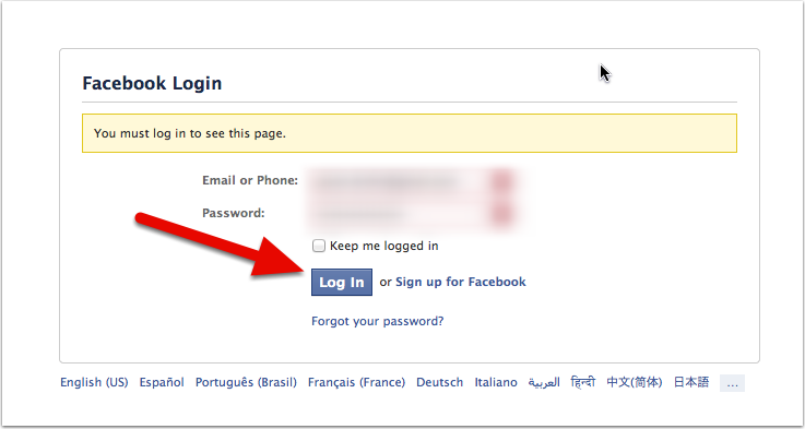 5: Log In To Facebook