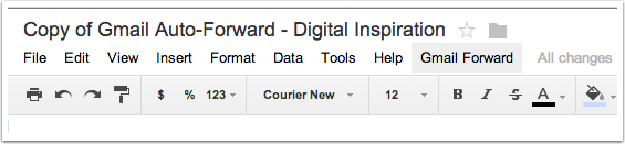 3. Click on 'Gmail Forward' in the Google Doc menu.