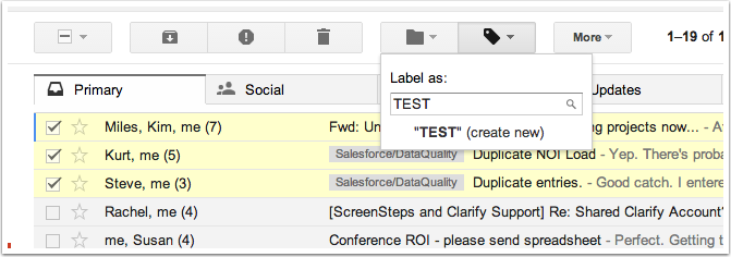 7. In your Gmail inbox, apply the label to all the messages you want to forward.