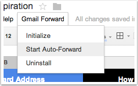 9. Go back to the Google Spreadsheet and click 'Start Auto-Forward'.