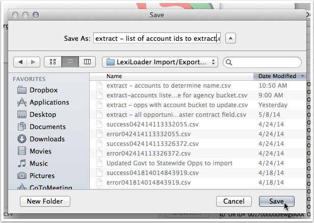 5. Give the export file a name. Click
