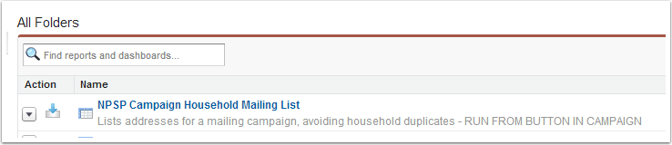 Edit the NPSP Campaign Household Mailing List report